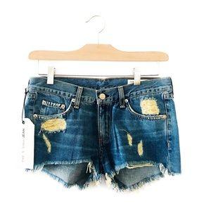 Rag and bone distressed jean shorts